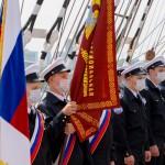 Передача знамени всероссийской эстафеты добрых дел командованию барка «Седов»